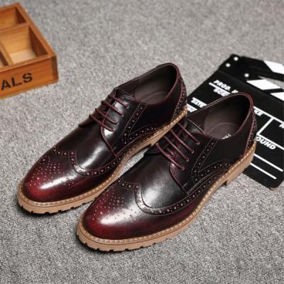 レースアップシューズ メダリオンシューズ オックスフォードシューズ メンズシューズ 男性用 紳士靴 きれいめ 上品 カジュアル ラウンドトゥ プレーン