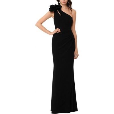 エックススケープ XSCAPE レディース パーティードレス ワンショルダー ワンピース・ドレス Embellished One-Shoulder Gown Black
