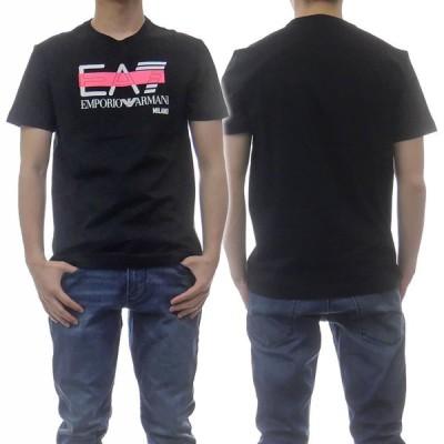 EMPORIO ARMANI エンポリオアルマーニ EA7 メンズクルーネックTシャツ 3KPT32 PJ7CZ ブラック /2021春夏新作