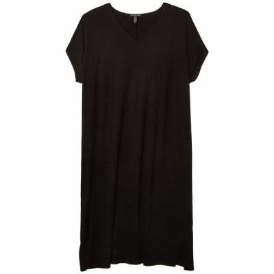 エイリーンフィッシャー ワンピース トップス レディース Plus Size V-Neck Knee Length Dress Black