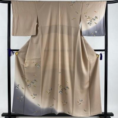 付下げ 秀品 椿 染め分け ピンクベージュ 袷 身丈157cm 裄丈64cm M 正絹 中古
