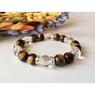タイガーアイ&水晶  パワーストーン ブレスレット  (ロンデル:シルバー) 10mm メンズ・レディース 天然石
