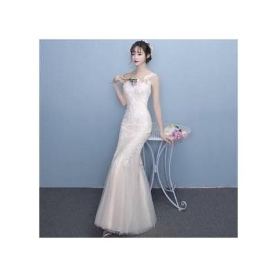 ウェディングドレス レース刺繍 ロングタイトドレス マーメイド 白 二次会 大きいサイズ 花嫁 シースルー 透け感 ノースリーブ