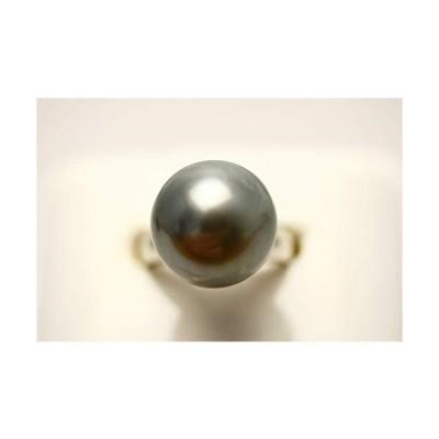 タヒチ黒蝶真珠パールリング【指輪】 14mm グレーカラー K18WG製
