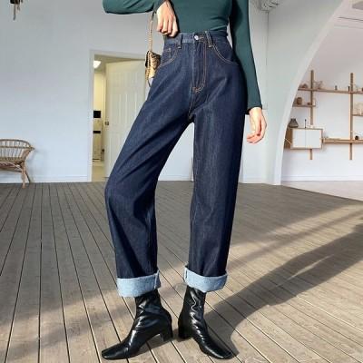 デニムパンツ テーパード レディース ボトムス ズボン サルエルパンツ 美脚 体型カバー 着痩せ オシャレ 20代30代40代 カジュア ジーンズ ジーパン 韓国風