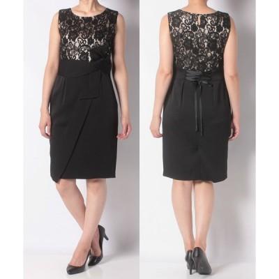【エイミーパール バイ パウダーシュガー】レース×リボンデザインタイトドレス