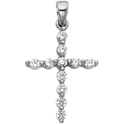 14k White Gold Cross CZ Religious Pendant Height 18 MM Width 15 MM