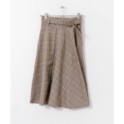 スカート ベルト付きチェックスカート∴