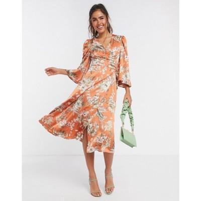 リカリッシュ Liquorish レディース ワンピース ラップドレス ワンピース・ドレス satin wrap dress in orange floral オレンジフローラル