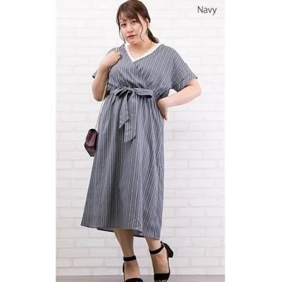【大きいサイズ】 ストライプ柄カシュクールワンピース ワンピース, plus size dress