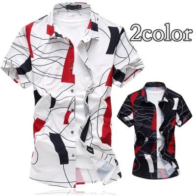 カジュアルシャツ スリム メンズ 半袖シャツ 父の日 シャツ デザインシャツ 夏 サマー 30代 40代 50代ファッション