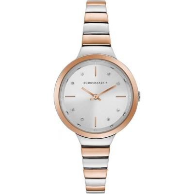 ビーシービージーマックスアズリア BCBGMAXAZRIA レディース 腕時計 ブレスレットウォッチ Two Tone Rose GoldTone Bracelet Watch with Silver Dial, 34mm