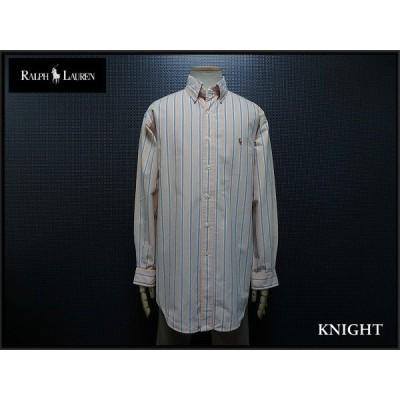 Ralph Lauren ストライプシャツ・15.5△ラルフローレン/長袖/コットンシャツ/BDシャツ ボタンダウン¨