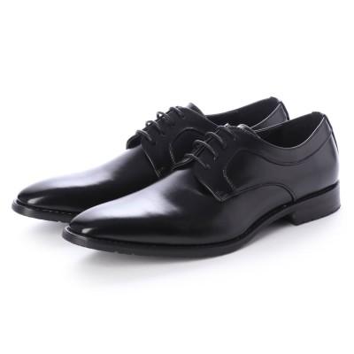 ジーノ Zeeno ビジネスシューズ メンズ 革靴 ロングノーズ 防滑 プレーントゥ レースアップ 外羽根 (Black)