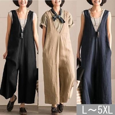 オールインワン vネック レディース オールインワンワイドパンツ 夏 韓国 大きいサイズ 綿 ストレート 袖なし ノースリーブ 黒 ブラック ネイビー ライトブラウン ゆったり 楽ちゃん L-5XL