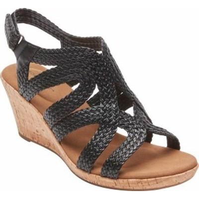 ロックポート レディース サンダル シューズ Women's Rockport Briah Braid Strap Wedge Sandal Black Leather