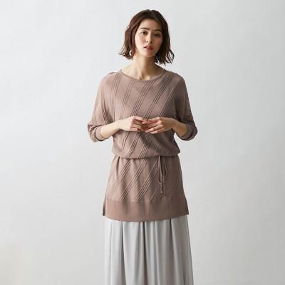 シアー感のあるバイヤス柄編みニット(スタイルノート/StyleNote)