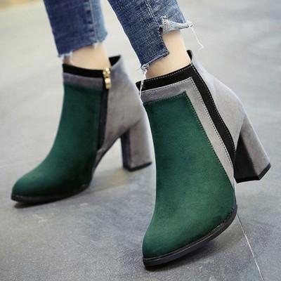 チュクラ chuclla スエード調 配色アンクル丈ブーツ (グリーン×グレー)