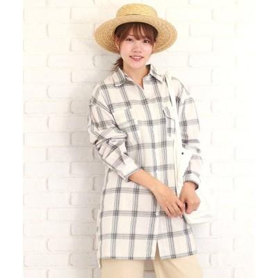 (Amulet/アミュレット)チェック長袖ゆったりシャツ チェックシャツ レディース 春 30代 40代 【vl-5115】【S/S】/レディース ホワイト