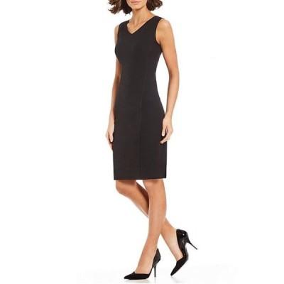 カスパール レディース ワンピース トップス Petite Size Stretch Crepe V-Neck Sheath Dress
