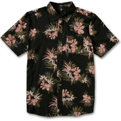 ボルコム VOLCOM メンズ 半袖シャツ トップス Barrun Stripe Classic Fit Short Sleeve Button-Up Shirt Black