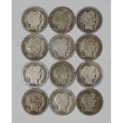 金貨 銀貨 硬貨 シルバー ゴールド アンティークコイン 1905 1916Sバーバーダイム10CG / VG非常に良いフルリムに良い 12コインロット(73
