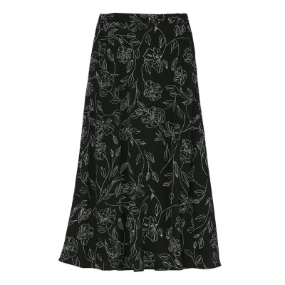 【ユアーズ】 ペンシルフラワーセミフレアスカート レディース ブラック M ur's