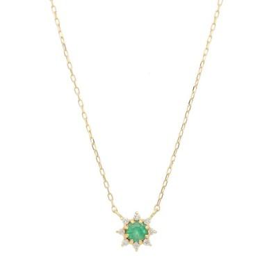 L&Co. エルアンドコー / K18 誕生石&ダイヤモンド ネックレス(エメラルド)