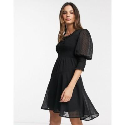 ヴェロモーダ ミニドレス レディース Vero Moda mini dress in black dobby mesh エイソス ASOS ブラック 黒