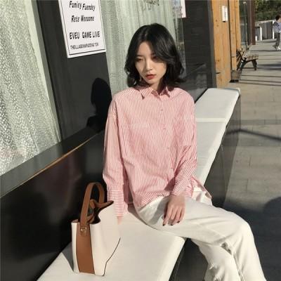 女性らしさ満点の魅力スタイルを 春夏 韓国新品 レジャー ストライプ ラージ ルーズ トップス