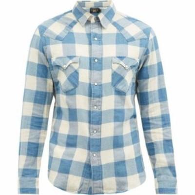 ダブルアールエル RRL メンズ シャツ トップス Buffalo-check cotton-blend poplin shirt Blue