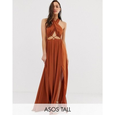 エイソス ASOS DESIGN レディース ワンピース ワンピース・ドレス ASOS DESGIN Tall maxi dress with cross neck and cut out waist detail Rust