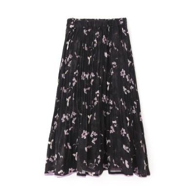 スカート ◆ドビーフラワー裾パイピングプリーツスカート
