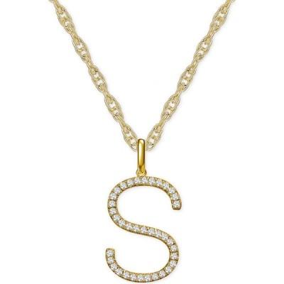 """メイシーズ Macy's レディース ネックレス ジュエリー・アクセサリー Diamond Initial 18"""" Pendant Necklace (1/6-1/3 ct. t.w.) in 14k Gold"""