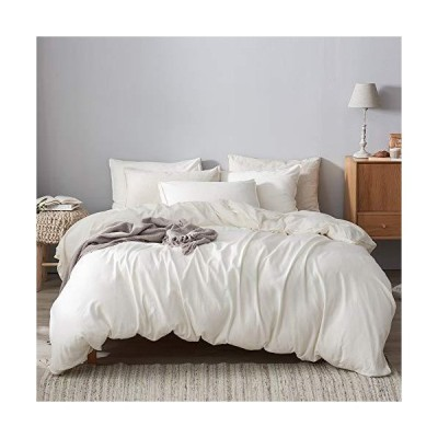 DAPU 55% French Linen 45% Cotton Duvet Cover with 2 Pillowcases with Button Closure (White/Linen Cotton, Full/Queen)