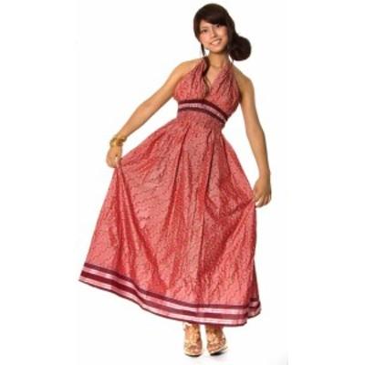 オールドサリーマキシワンピース ピンク 赤紫系 / アンティークサリー サリー生地 ドレス エスニック アジアン 女性 トップス エスニック