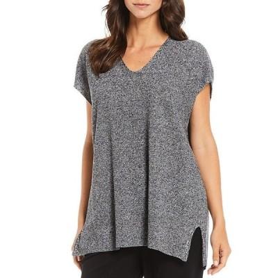 エイリーンフィッシャー レディース カットソー トップス Petite Size Organic Linen Cotton Twist Textured V-Neck Tunic