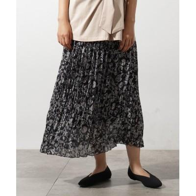 OZOC(オゾック) 総柄ワッシャープリーツスカート
