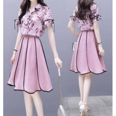 韓国 ファッション レディース セットアップ ブラウス フレアスカート 花柄 膝丈 半袖 きれいめ 上品 パーティー お呼ばれ 二次会 同窓会
