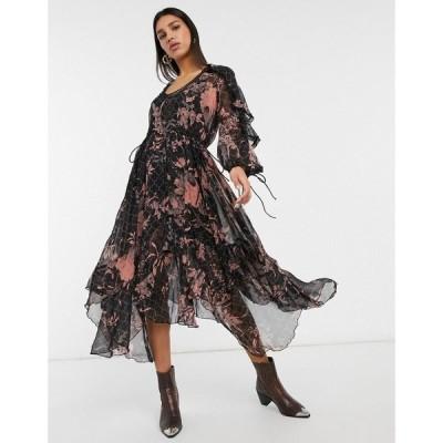 エイソス ASOS DESIGN レディース ワンピース ミドル丈 Drape Ruffle Midi Dress With Lace Insert And Tassel Detail In Blurred Floral マルチカラー