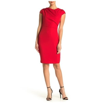アレクシアアドマー レディース ワンピース トップス Ester Pleated Neck Sheath Dress Red