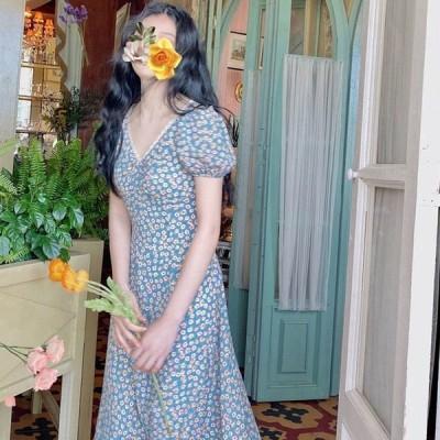 夏 ワンピース レディース 花柄 ロングワンピース 可愛い フランス風 お洒落 着痩せ 20代 30代 Vネック