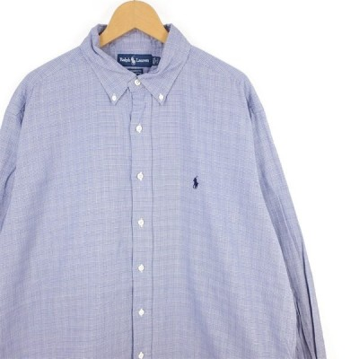 古着 大きいサイズ ラルフローレン 長袖ボタンダウンシャツ 旧タグ メンズ US-XLサイズ グレンチェック柄 ブルー系 hs-8882