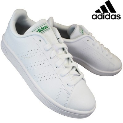 アディダス adidas EE7690 アドバンコートベース ランニングホワイト/グリーン メンズ レディース ローカットスニーカー 運動靴 白靴 合成皮革