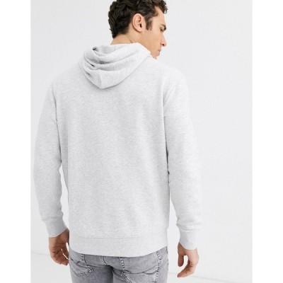 リー メンズ パーカー・スウェットシャツ アウター Lee Jeans overhead hoodie with chest logo in gray Gray heather