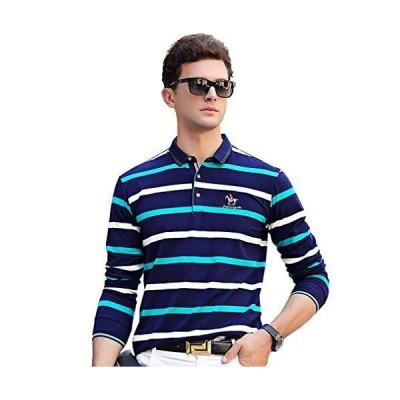 ポロシャツ 長袖 メンズ ボーダー ゴルフ ゴルフウェア メンズ ビジネス ボーダーシャツ 速乾 おしゃれ ファッション 春秋 M ブルーB