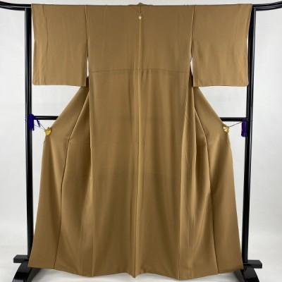 在庫一掃 色無地 美品 優品 一つ紋 茶色 袷 163cm 63.5cm S 正絹 中古