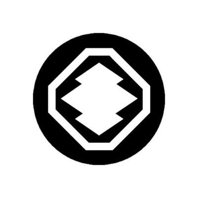 家紋シール 白紋黒地 八角に松皮菱 布タイプ 直径40mm 6枚セット NS4-3696W