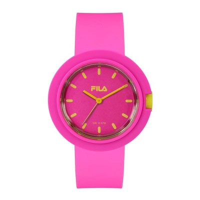 フィラ メンズ レディース ユニセックス 男女兼用 FILASTYLE イエロー ピンク ラバー ビッグケース 38-109-003 腕時計