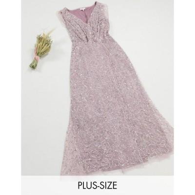 マヤ ドレス 大きいサイズ レディース Maya Plus all over delicate sequin maxi dress with cape detail in lilac エイソス ASOS